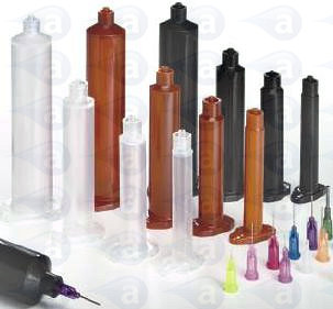 Adhesive dispensing syringe barrel tip components