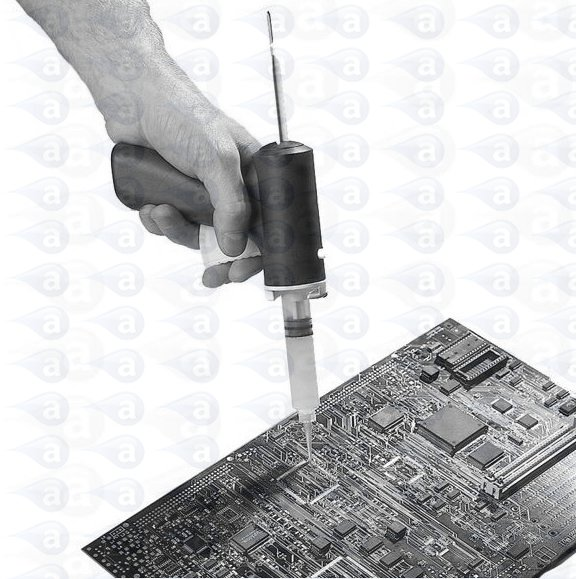 Adhesive dispensing syringe gun dispenser